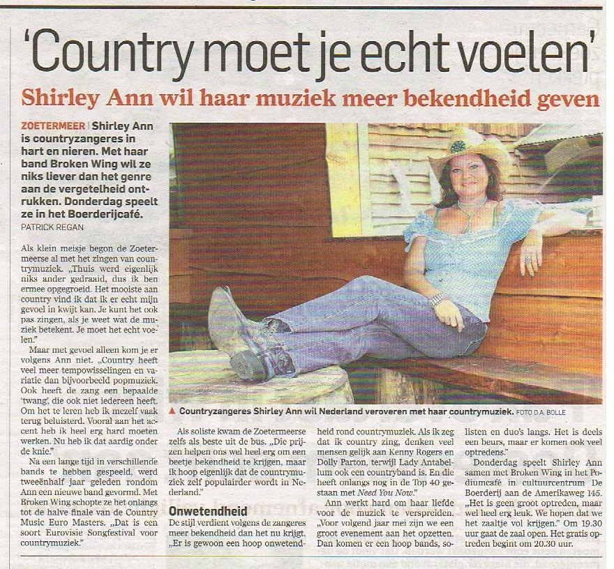 Shirley Ann's interview in the newspaper